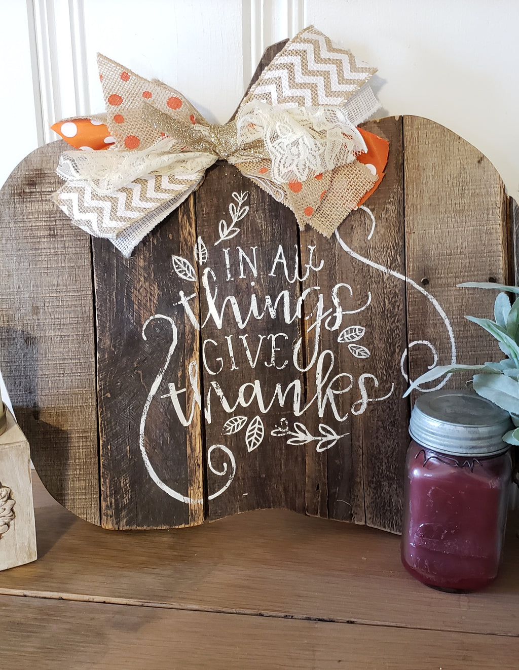 'Give Thanks' Pallet Pumpkin