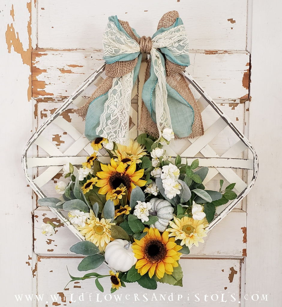 Sunflowers Tobacco Basket Wreath