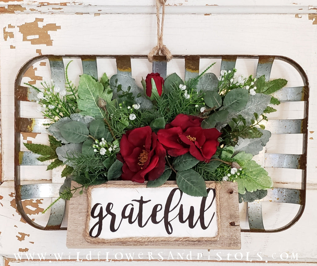 'Grateful' Wild Rose Tobacco Basket Wreath