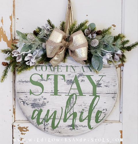 *PRE-ORDER* 'Stay Awhile' Round Christmas Door Hanger