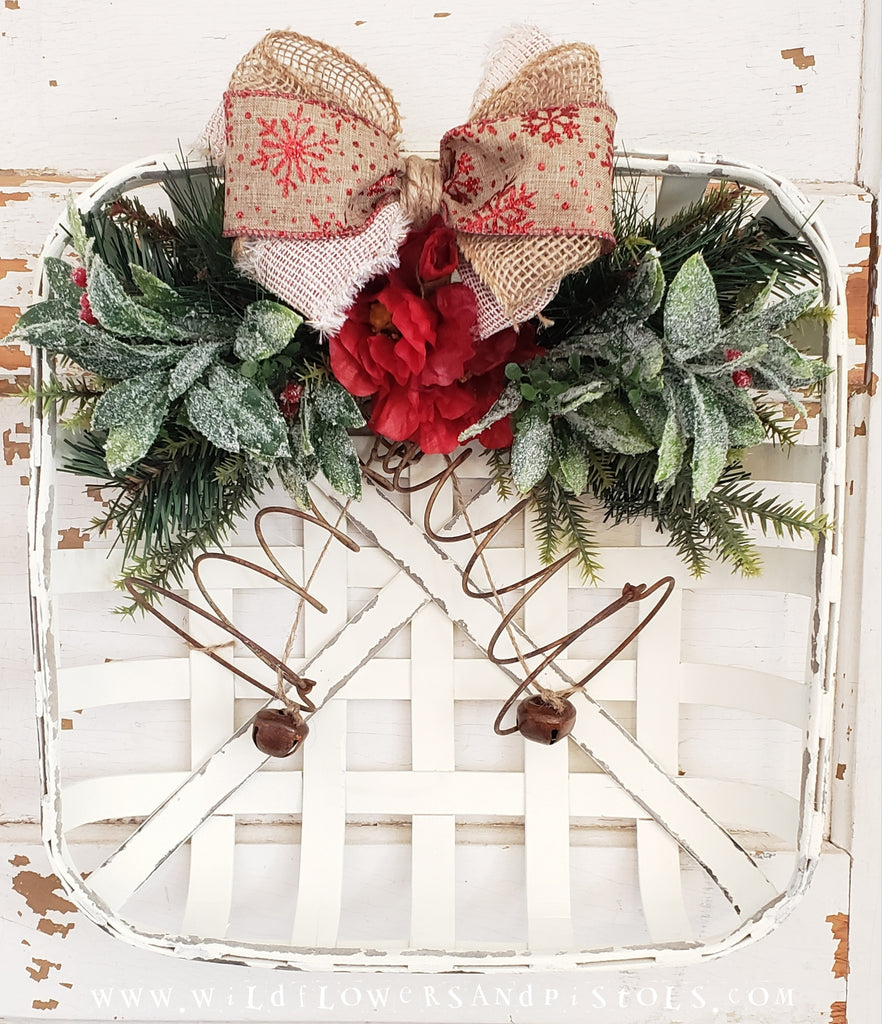 Red Jingle Bell Tobacco Basket Wreath