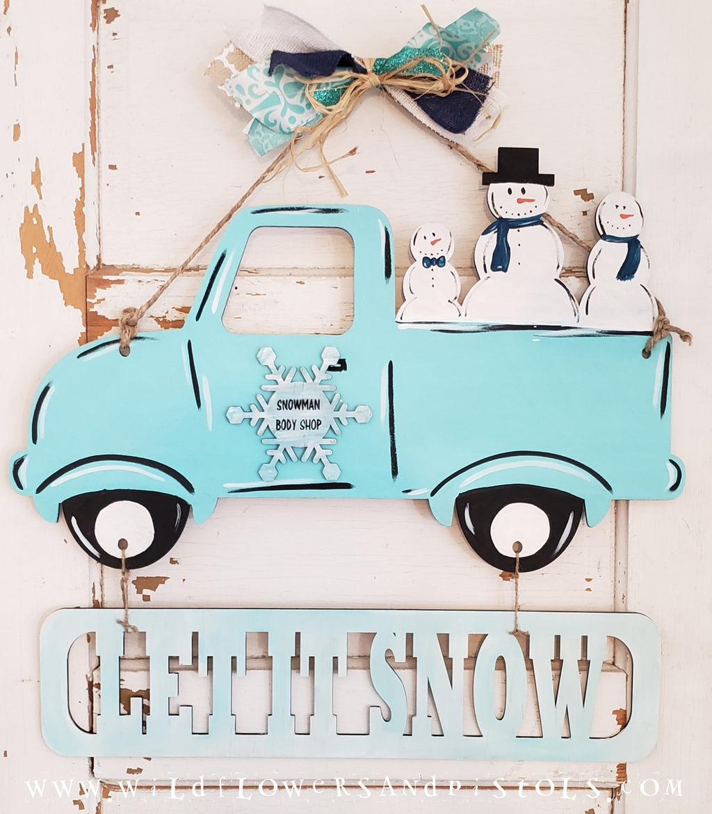 'Let it Snow' Vintage Truck Door Hanger