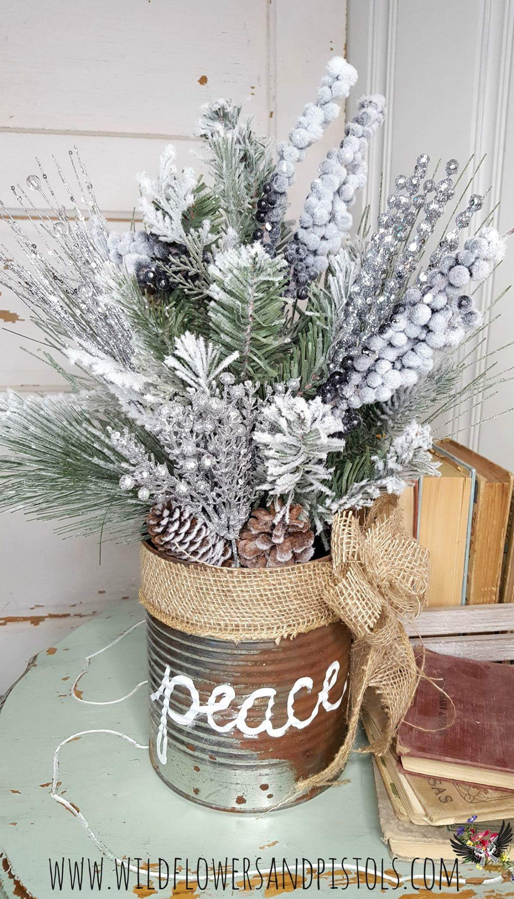 Peace Coffee Can Christmas Arrangement