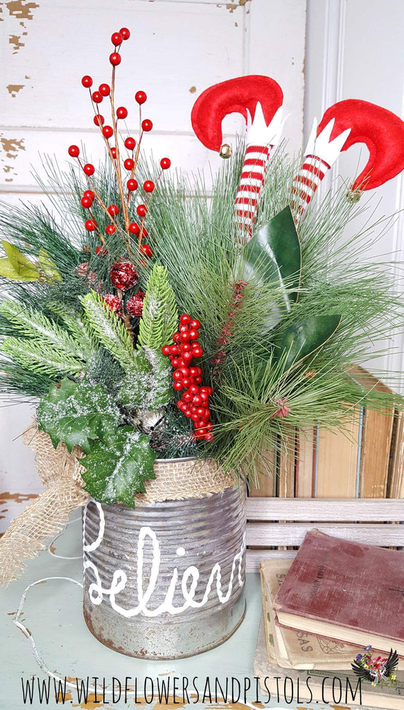 Believe Coffee Can Christmas Arrangement