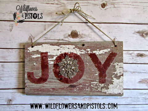 Barn Wood 'Joy' Sign