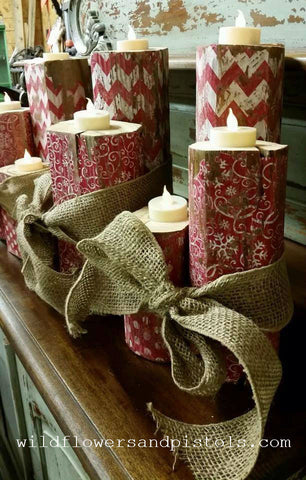 Wooden Christmas Candle Holders