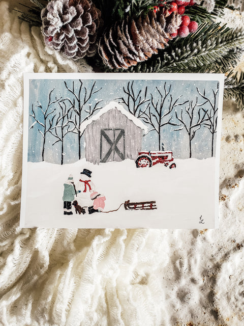 Christmas on the Farm Fine Art Paper Print