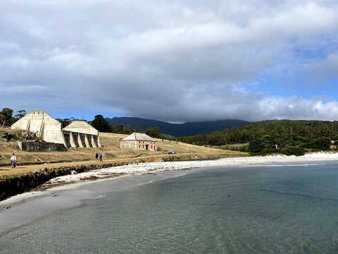 Maria Island, Tasmania, view of the beach as you arrive at the dock on the ferry