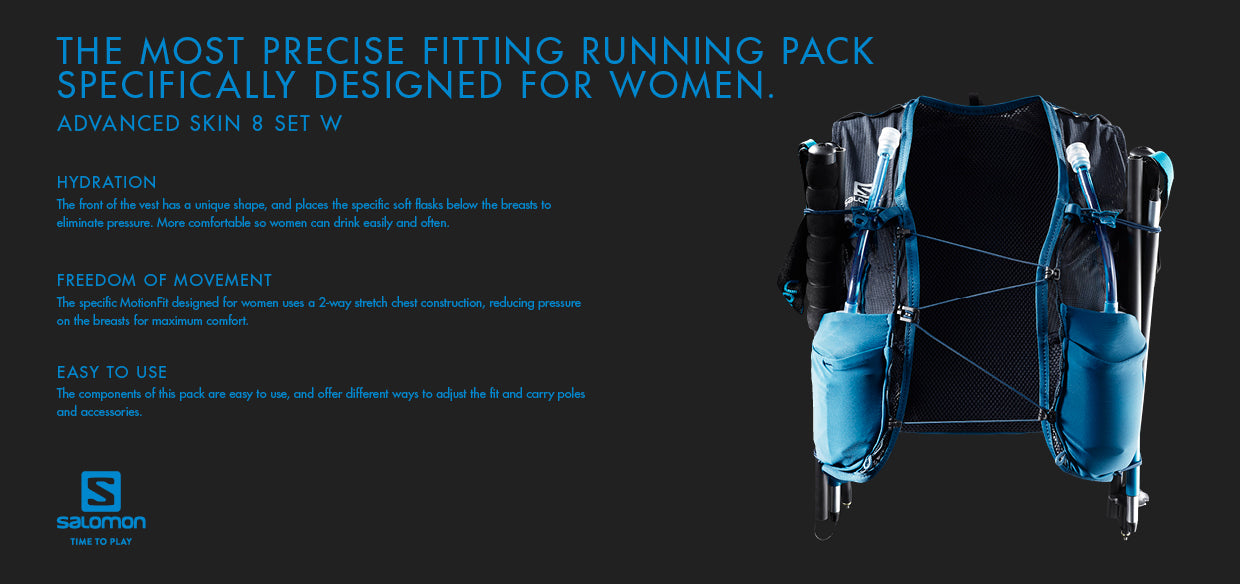 Salomon Advanced Skin 8 Set Womens Trail Running Vest Pack Find Your Feet Hobart Tasmania Australia