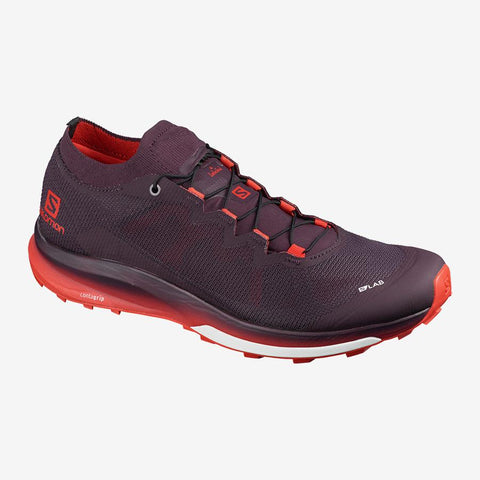 Salomon S/LAB ultra 3 trail running shoes, unisex shoes, red and purple