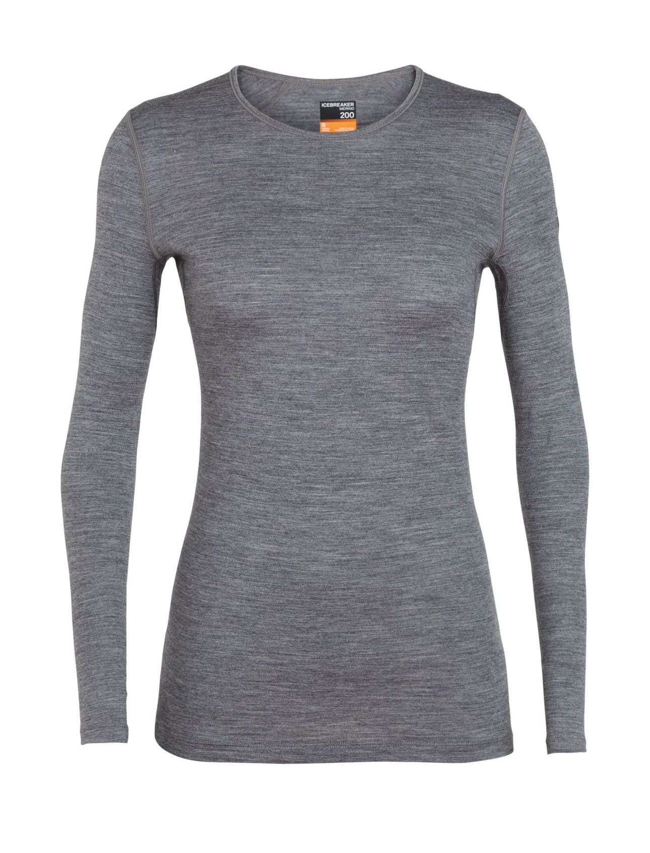 Icebreaker 200 Oasis LS Crewe (Women's) - Gritstone Heather - Find Your Feet Australia Hobart Launceston Tasmania