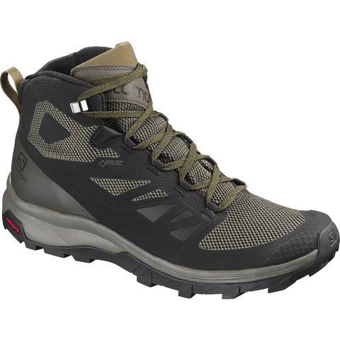 Salomon Outline Mid GTX Hiking Boot (Men's) - Black/Beluga/Capers - Find Your Feet Australia
