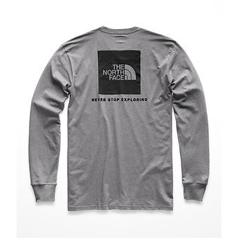 The North Face Red Box LS Tee (Men's) - Medium Grey Heather/TNF Black - Find Your Feet Australia Tasmania