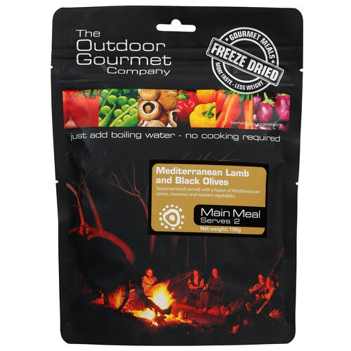 Outdoor Gourmet Company Meals - Mediterranean Lamb and Black Olives - Find Your Feet Australia Hobart Launceston Tasmania