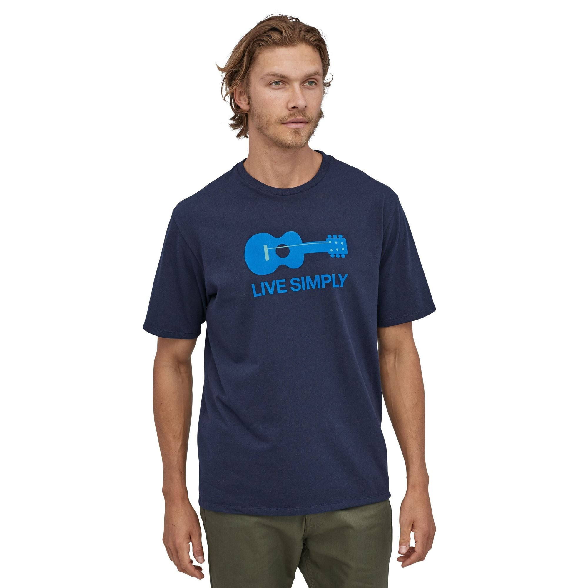 Patagonia Live Simply Guitar Responsibili-Tee (Men's) - White - Find Your Feet Australia Hobart Launceston Tasmania