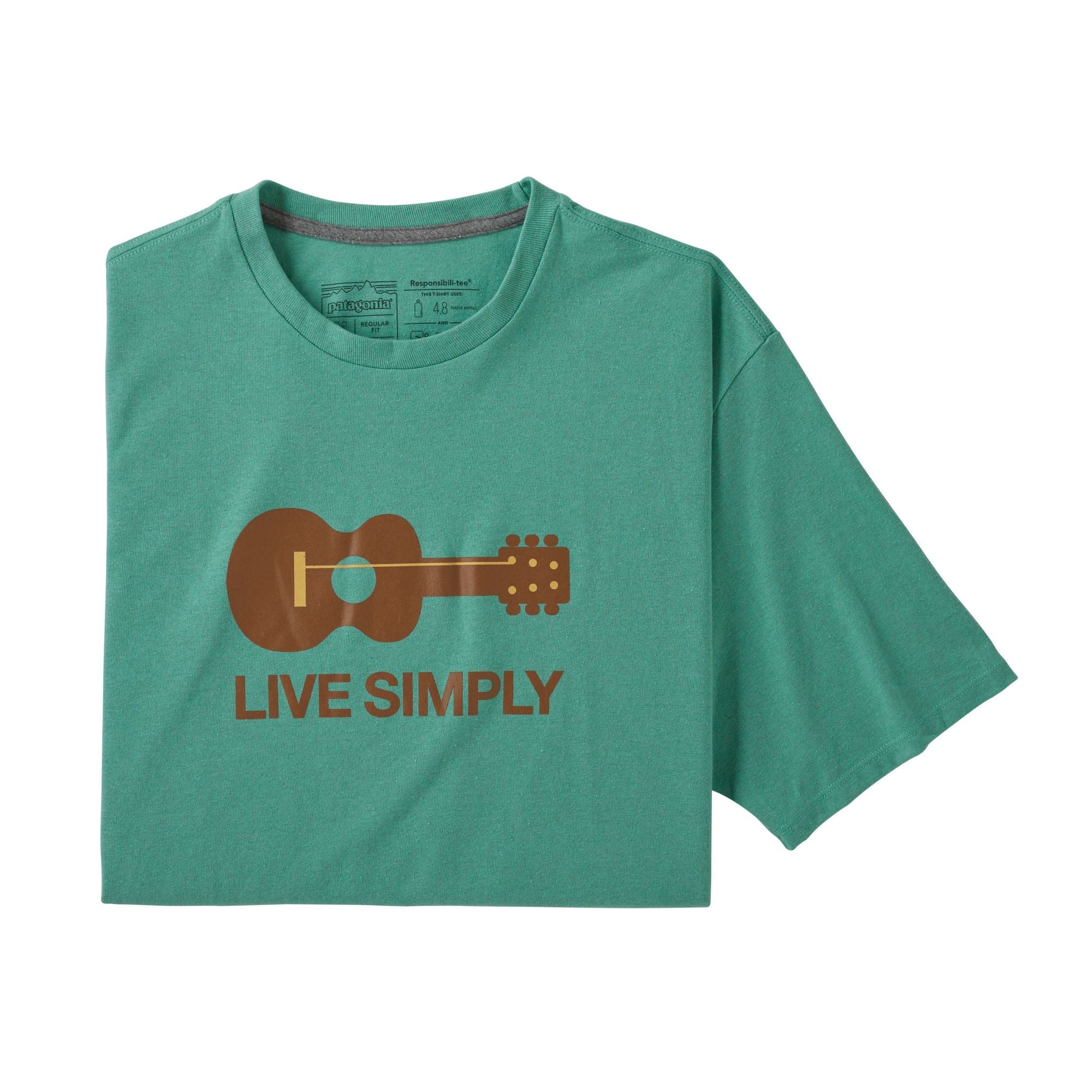 Patagonia Live Simply Guitar Responsibili-Tee (Men's) - Light Beryl Green - Find Your Feet Australia Hobart Launceston Tasmania