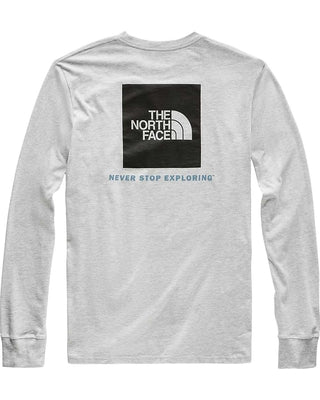 The North Face Red Box LS Tee (Men's) - Find Your Feet - Hobart Australia Tasmania Lifestyle Light Grey Heather Black