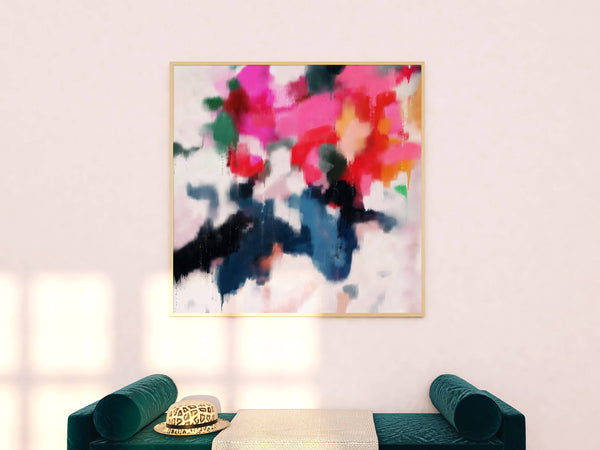 Pink and blue oversized art for entryway