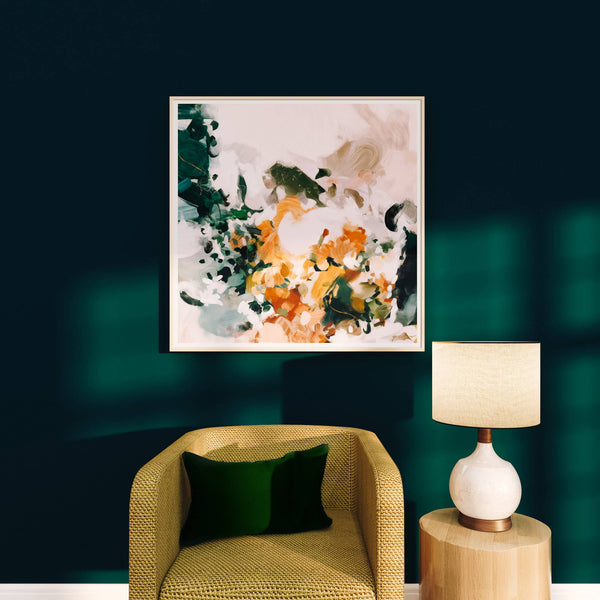 Abstract art for dark green walls