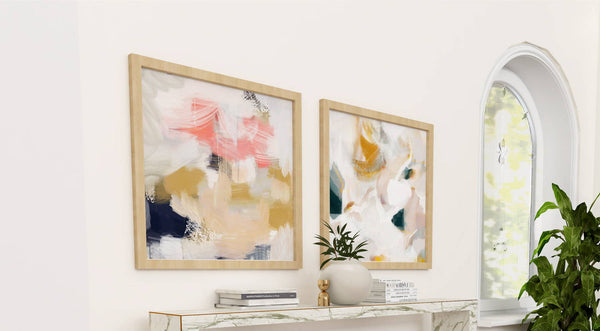 Pair of wall art prints for bright white entryway