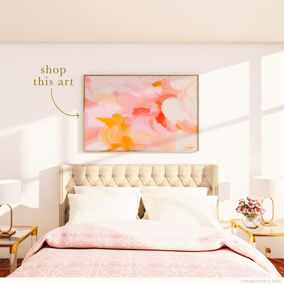 Large landscape pink and yellow abstract wall art for over the bed via Parima Studio