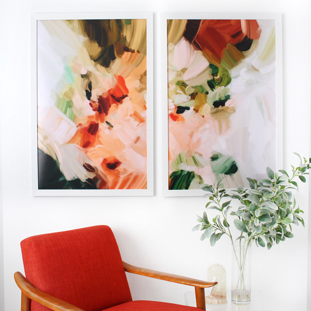 La Plaza, set of two abstract art prints by Parima Studio - Diptych art over the accent chair. Styled in living room decor. Neutral art