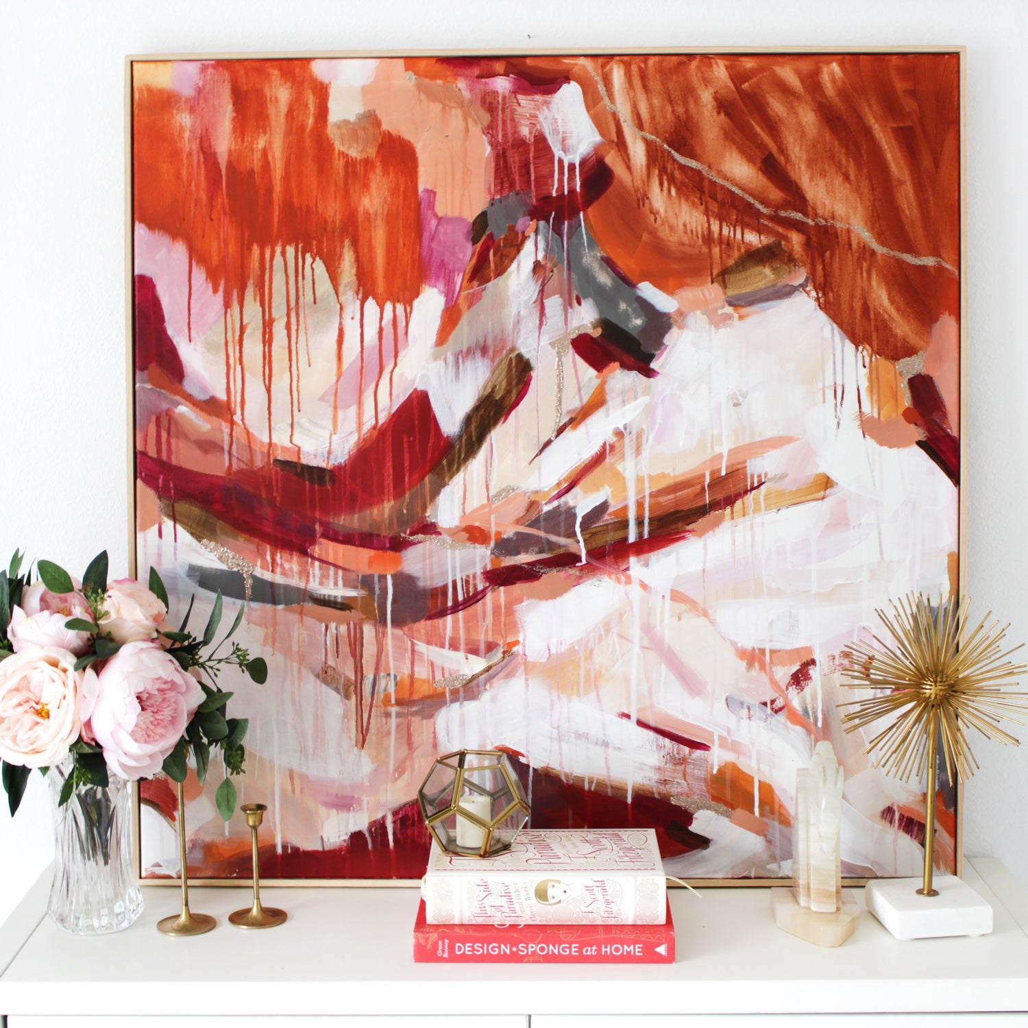 Abigail, large square abstract painting in living room via Parima Studio