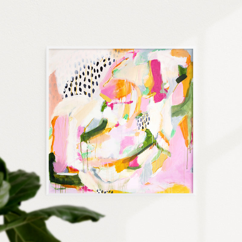 Adira. pink and green abstract art print by Parima Studio. Framed in white