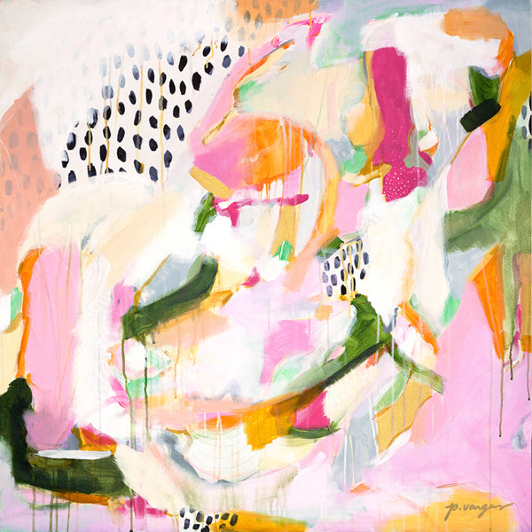 Adira. pink and green abstract art print by Parima Studio