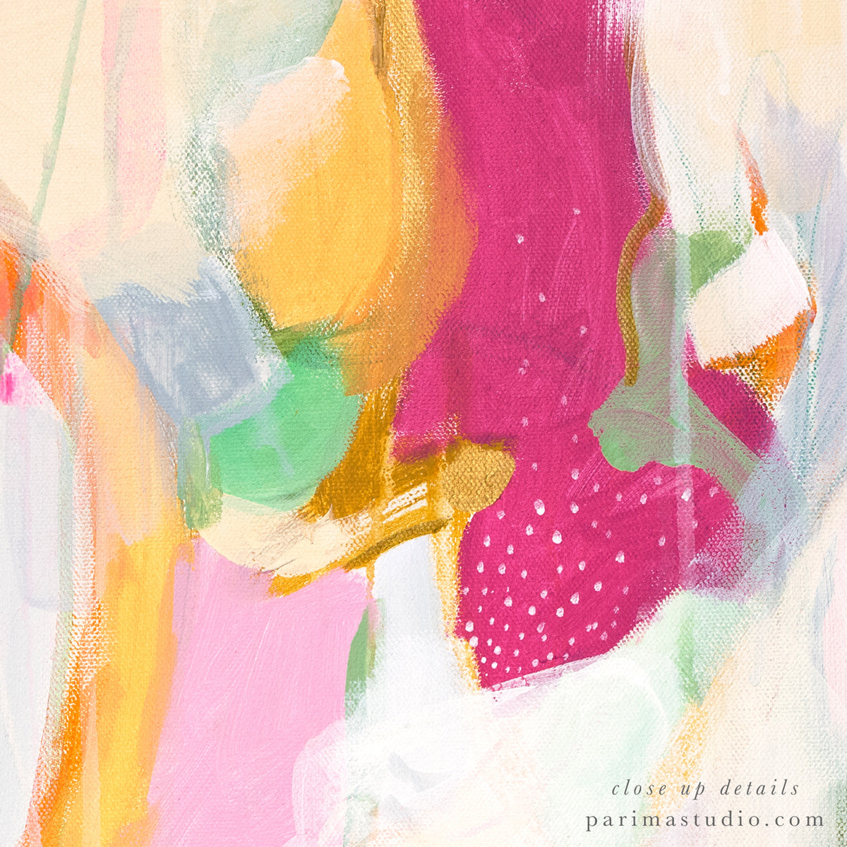Close up details -Adira. pink and green abstract art print by Parima Studio