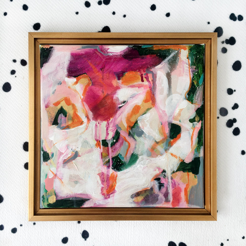 Alia, abstract painting by Patricia Vargas, comes with a gold frame #pink #goldframe