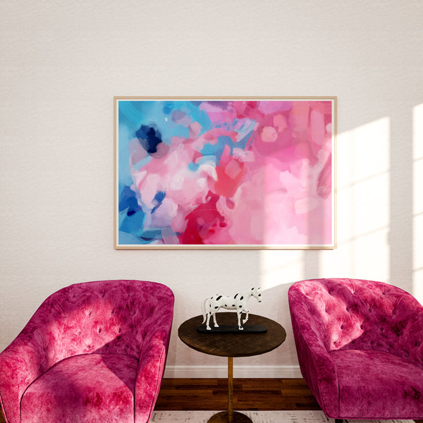 Alma, oversized pink and blue abstract wall art print for living room by Parima Studio