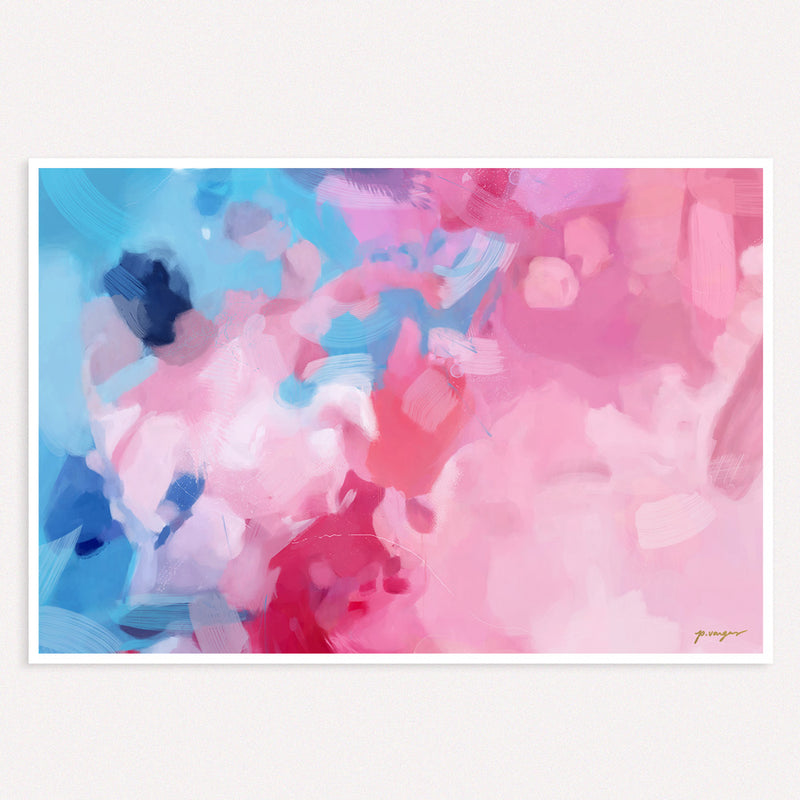 Alma, oversized pink and blue abstract wall art print by Parima Studio