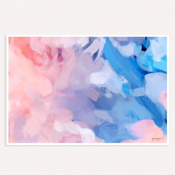 Amara, oversized pastel pink and blue  abstract wall art by Parima Studio