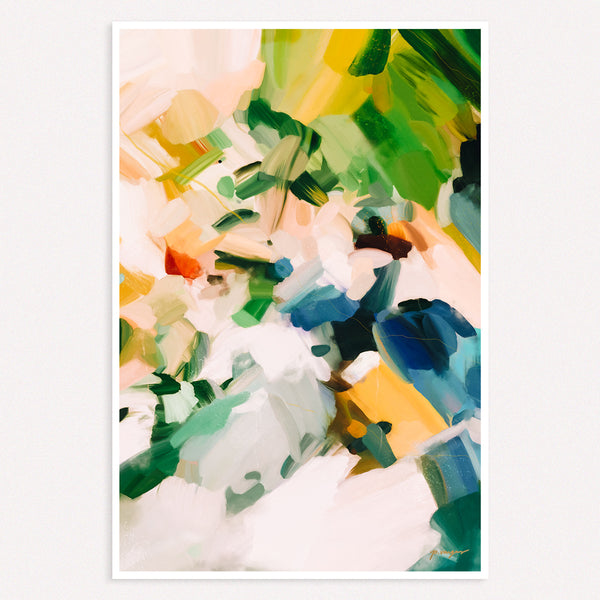 Birds of Paradise, colorful abstract art print by Parima Studio