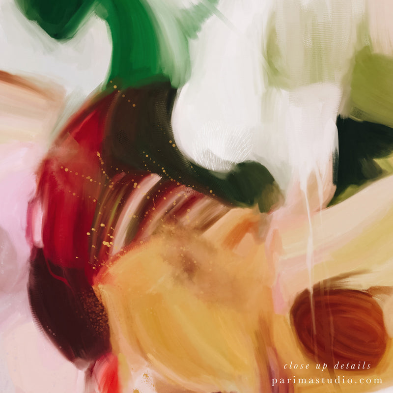 Close up of Bloom, colorful abstract art print by Parima Studio