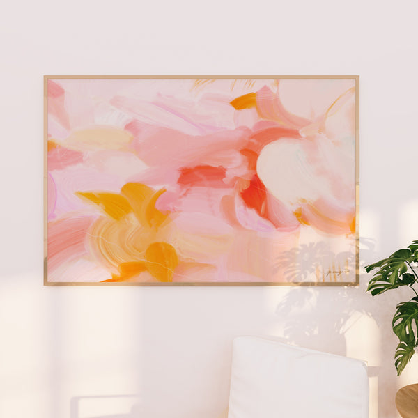 Blush - Large scale wall art - pink and yellow abstract art by Parima Studio - wall art prints