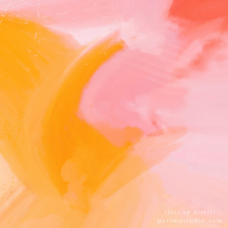 Close up of Blush - pink and yellow abstract art by Parima Studio - wall art prints