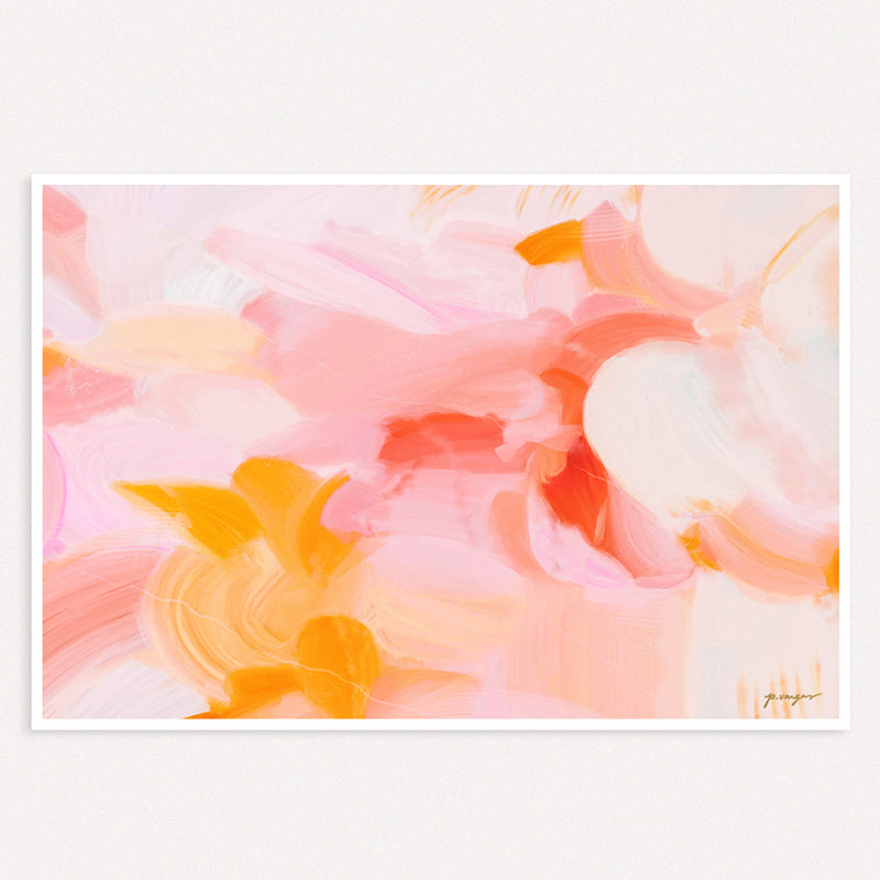 Blush - pink and yellow abstract art by Parima Studio - wall art prints