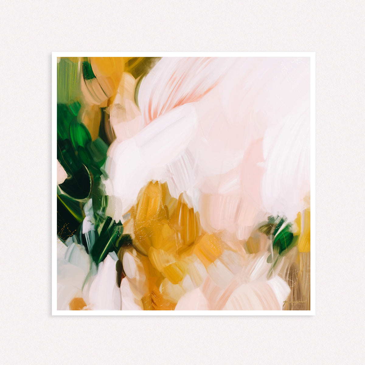 Camellia, large pink and green abstract art print by Parima Studio. Limited edition.