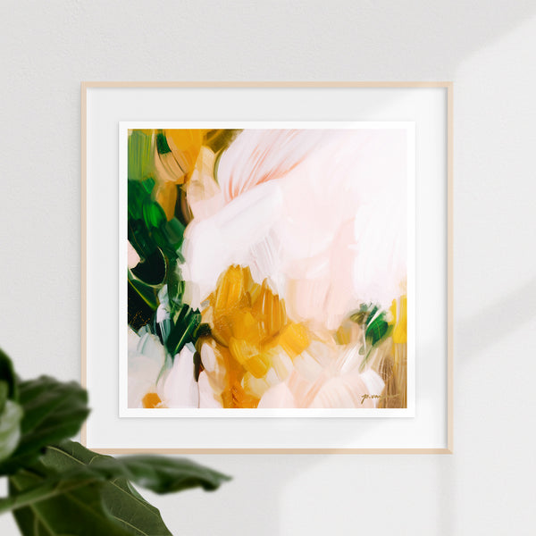 Camellia, large pink and green abstract art print by Parima Studio. Limited edition. Floating mount frame
