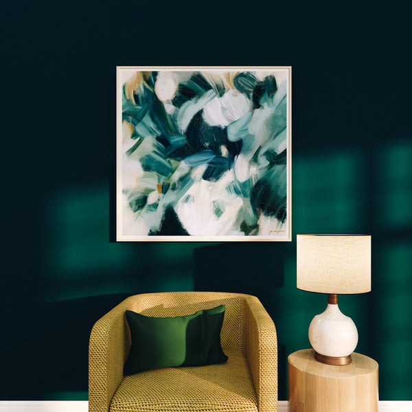 Large scale artwork - Caspian, blue abstract art print by Parima Studio -Living room blue and green