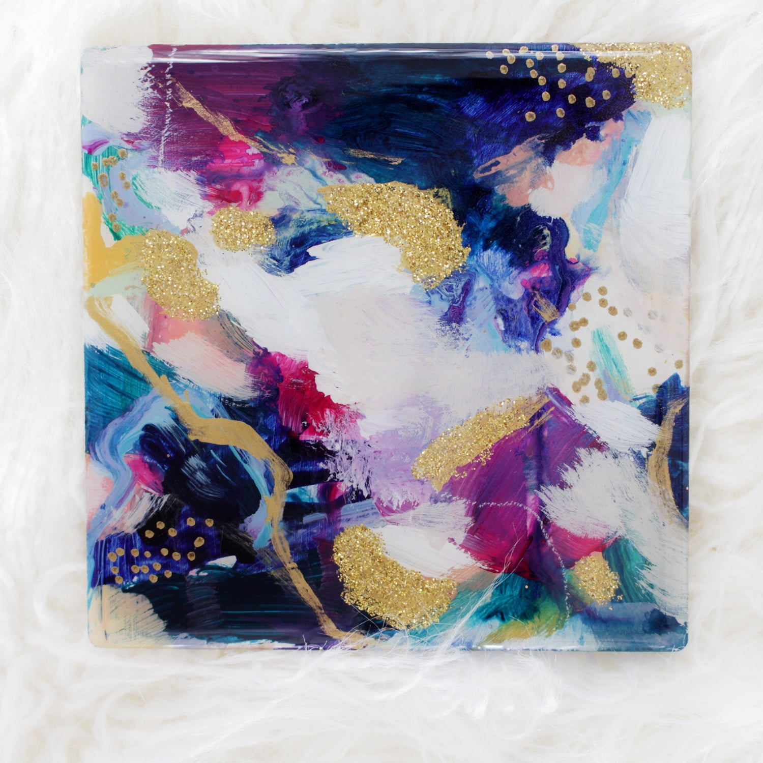 Ceramic No.1 by Parima Studio. Small abstract painting. Acrylic, gold glitter on uncoated ceramic and sealed with resin.