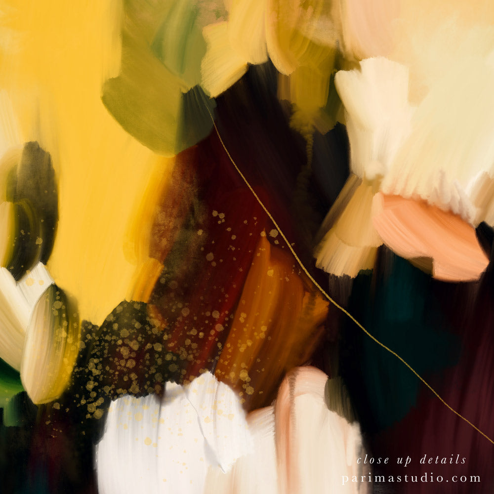Close up of Cinque Terre, large abstract art print by Parima Studio - Colorful green, blue, and yellow art