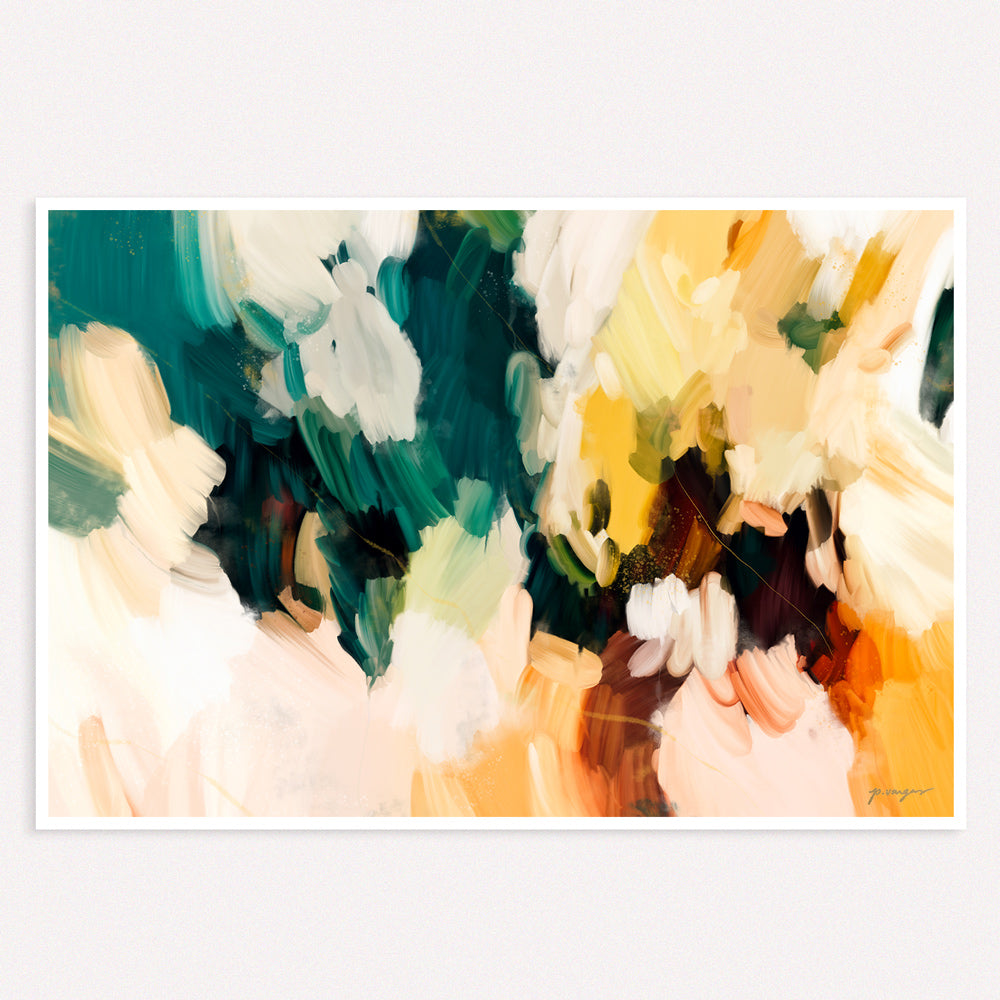 Cinque Terre, large abstract art print by Parima Studio - Colorful green, blue, and yellow art
