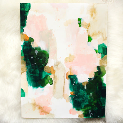 Color Series No. 4 by Parima Studio // abstract green, pink, gold painting art