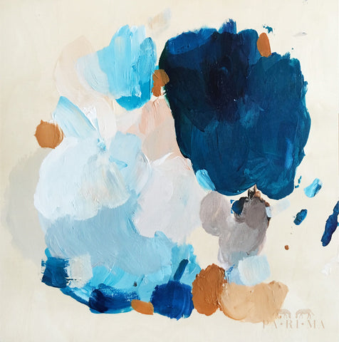 Color Series No.5 by Parima Studio // blue neutral abstract - acrylic on wood