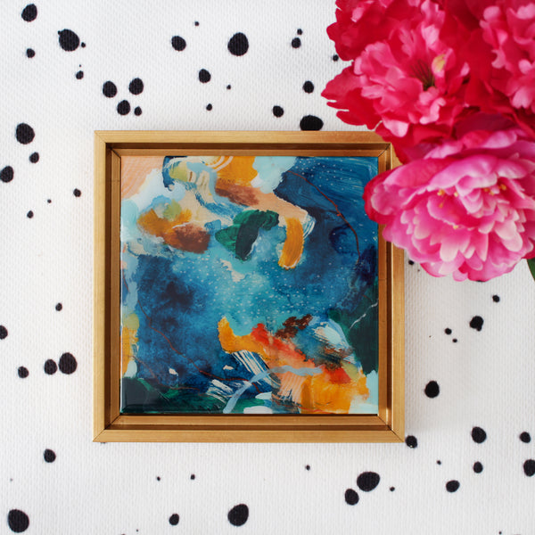 Eden abstract painting by Parima Studio #art #blue and #orange, acrylic paint and oil pastel on cradled wood panel framed in a gold wood frame and encased with resin.