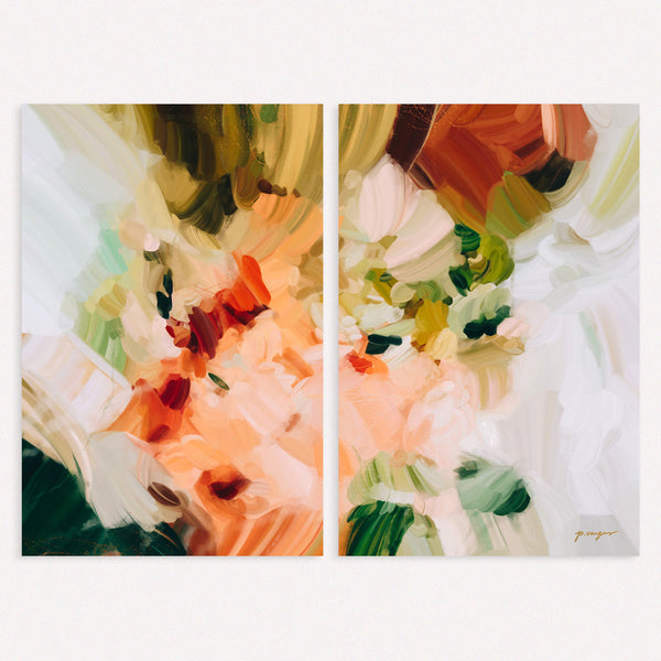 La Plaza, set of two abstract art prints by Parima Studio - Diptych art