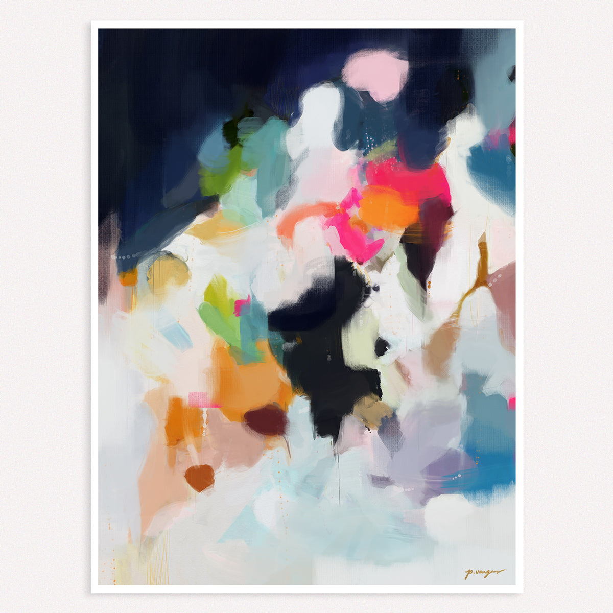 Eliza, large vertical abstract art print by Parima Studio
